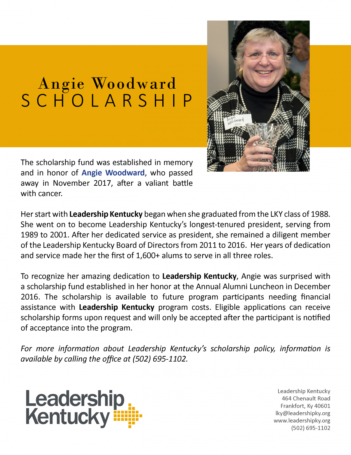 Angie Woodward Scholarship
