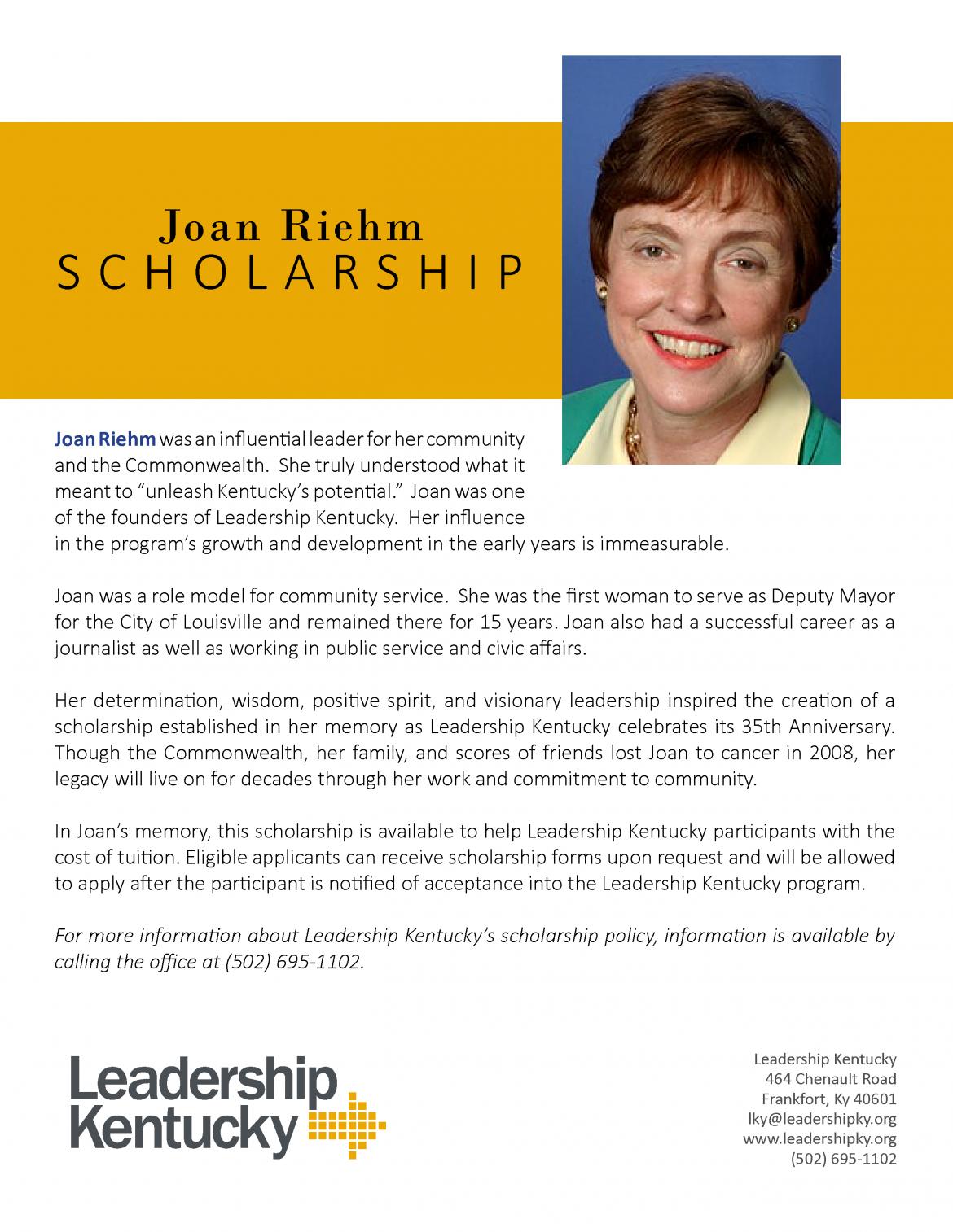 Joan Riehm Scholarship